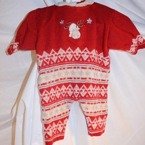 CLAYEUX BABY Infant Romper 6 Month Red Knit Warm